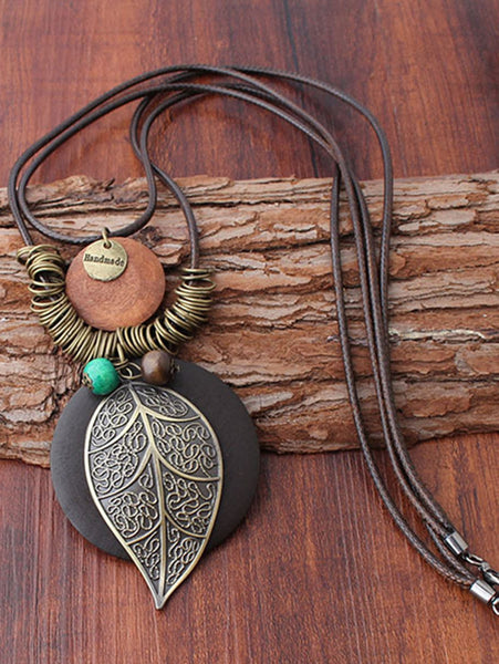 Brown Vintage Metal Leaf Sweater Necklace