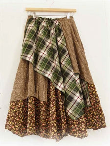 Brown Sweet Autumn Casual Large Size Long Half Skirt