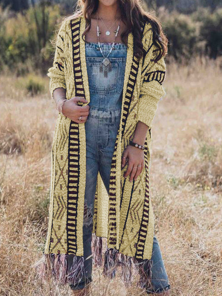 Plus Size Tribal Fringed Women Long Knitted Cadigans