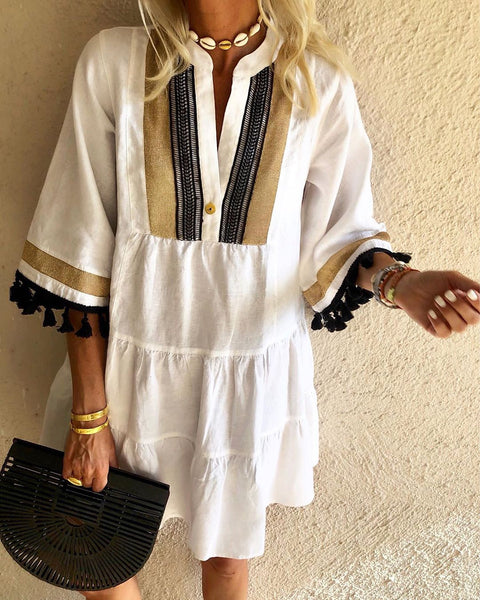 Boho V Neck 3/4 Sleeve Dresses