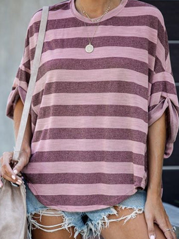 Casual Round Neck Color-block Shirts & Tops