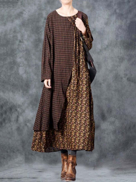 Brown Crew Neck Linen Casual Dresses
