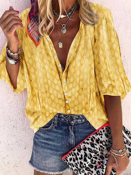 Casual Printed 3/4 Sleeve Shirts & Tops
