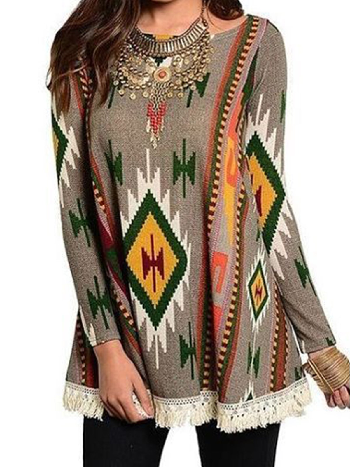 Patchwork Tassel Long Sleeve Round Neck Knitted Shirts & Tops