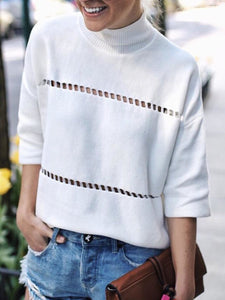 Plus Size Casual Solid 3/4 Sleeve Turtleneck Tops