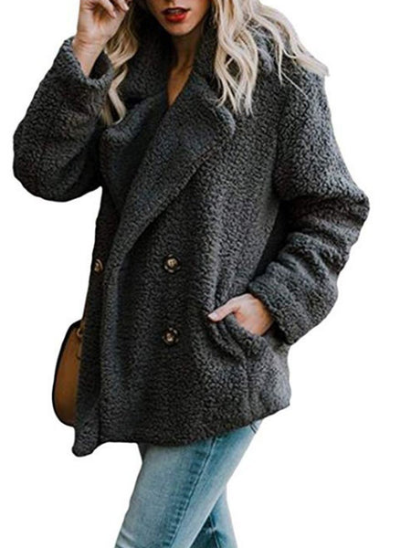 Fleece Fluffy Jacket Shawl Collar Long Sleeve Buttoned Solid Winter Teddy Bear Coat