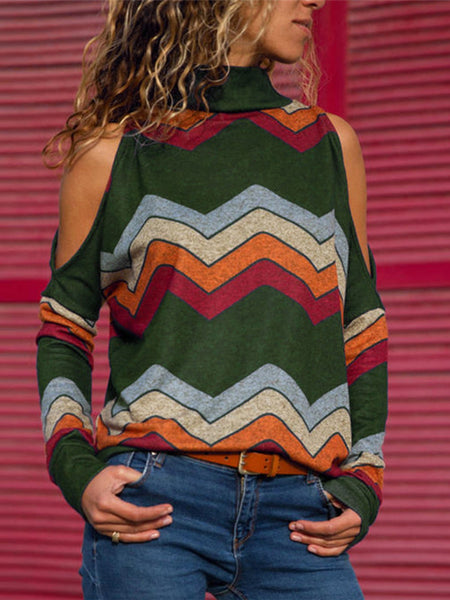 Printed Vintage Cold Shoulder Long Sleeve T-Shirts