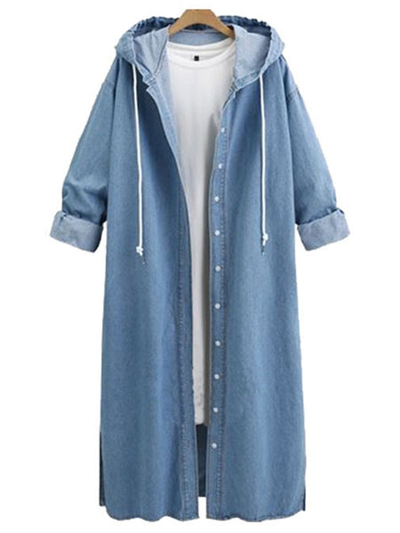 Casual Hoodie Denim Buttoned Plus Size Coat