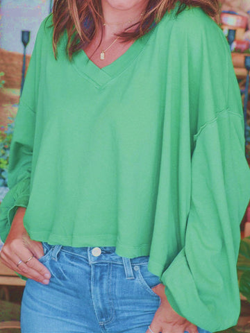 Autumn Summer Casual V-neck Long Sleeve Green Short Top
