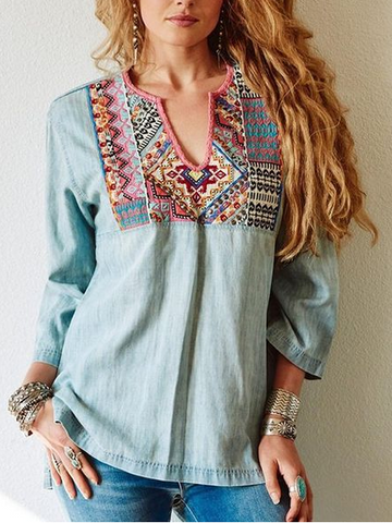 Light Blue Cotton-Blend Vintage Shirts & Tops