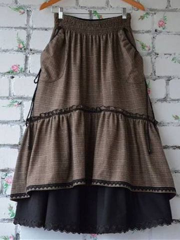 Coffee Casual Cotton Skirts