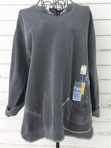 Dark Grey Casual Oversize Long Cotton Daily Hoodie