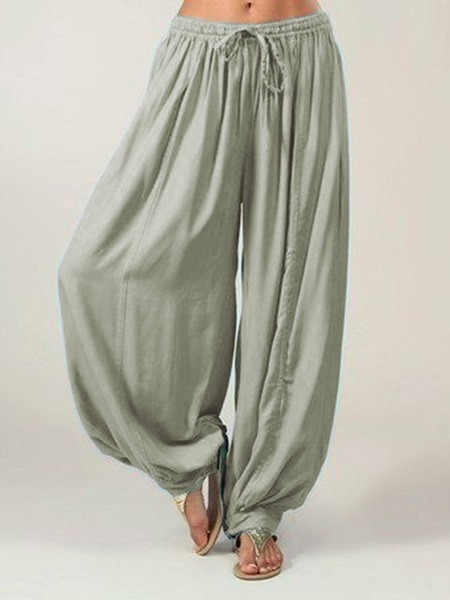 Paneled Solid Cotton Acrylic Plain Natural Pants