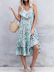 Green Sleeveless Casual Dresses