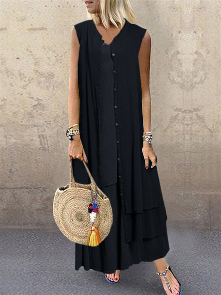Cotton-Blend Sleeveless Buttoned Casual Dresses