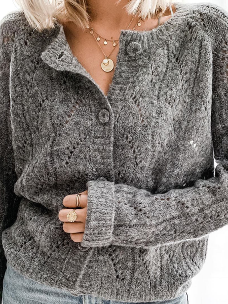 Plus size Knitted Long Sleeve Solid Sweater