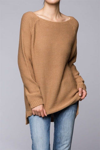 Plus size Knitted Long Sleeve Crew Neck Sweater