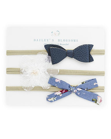 Bow Headband Variety Pack- Navy, Floral & Tulle