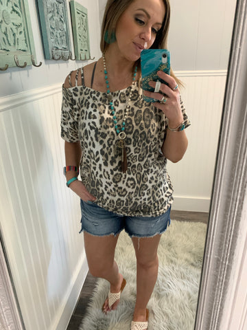 Leopard Striped One Shoulder Top