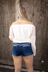 Silver Sequin Denim Shorts