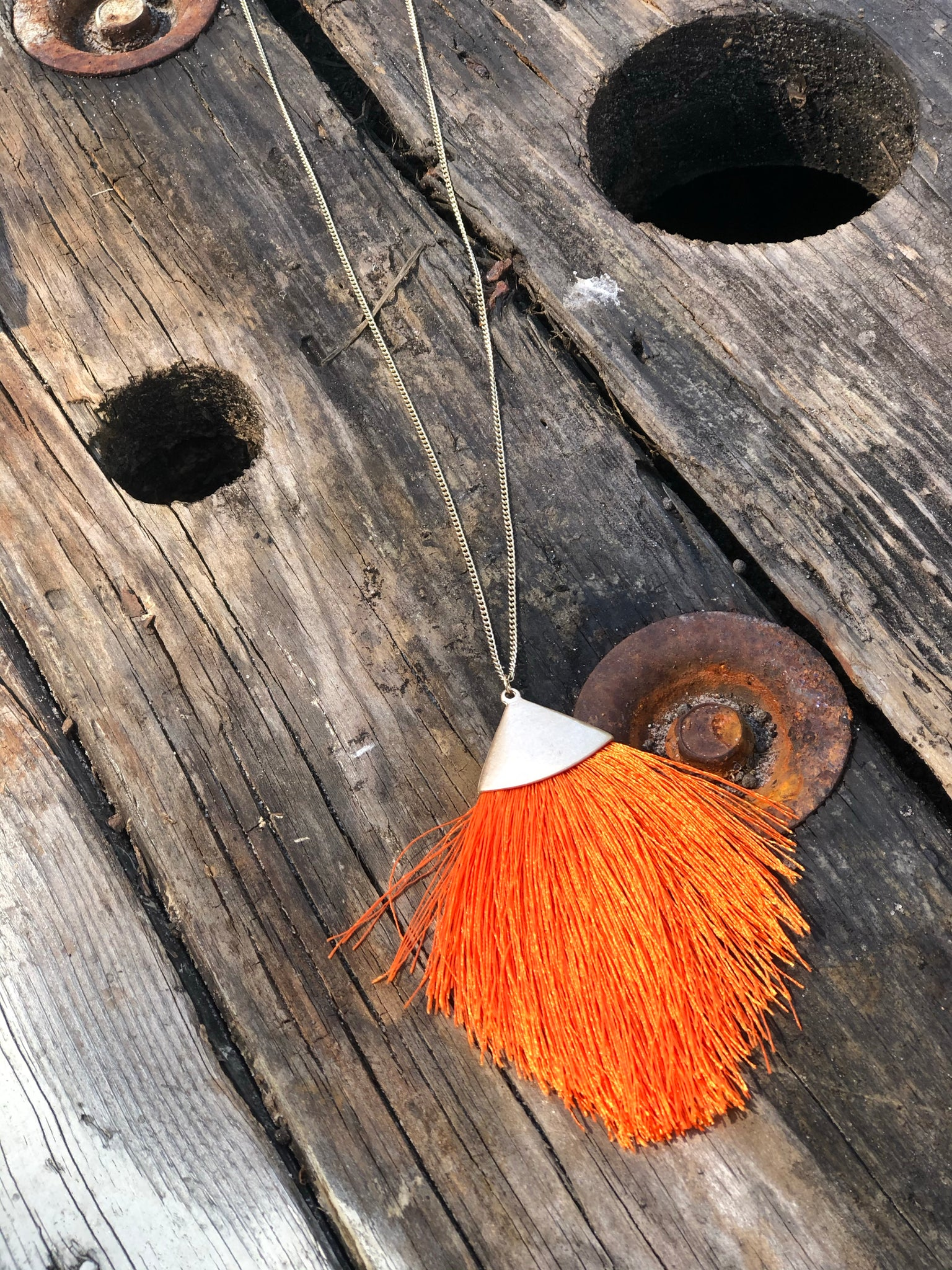 Orange Feathered Thread Necklace