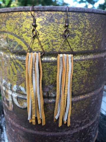 Short Leather Fringe Earrings