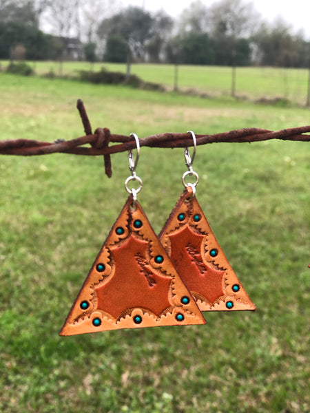 Hand Tooled Leather Earrings