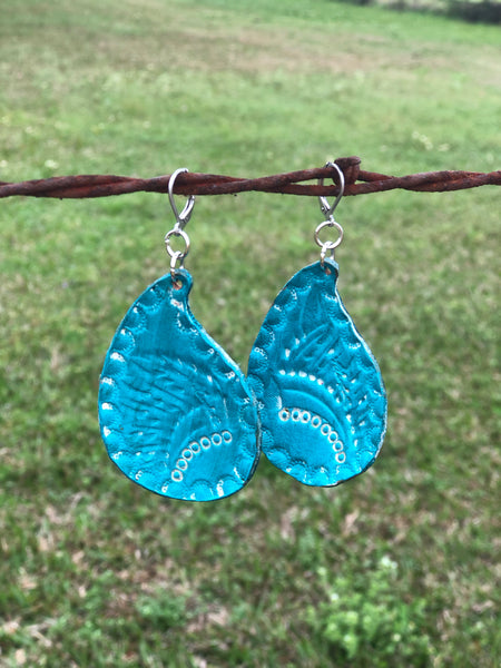 Curved Teardrop Leather Handcrafted Earrings