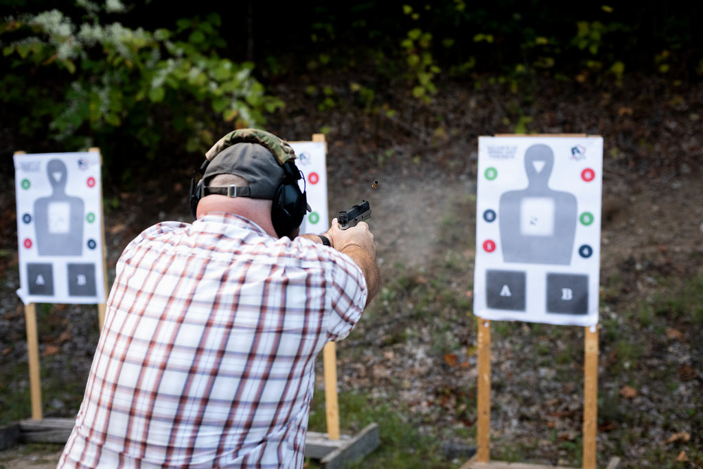 Patriot Firearms School student utilizing the balance of speed and precision target