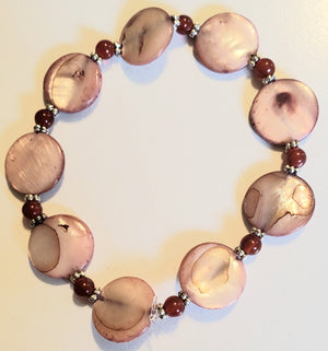 Garnet Salmon Colored Shell Bracelet