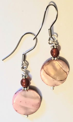 Garnet Salmon Colored Shell Earrings