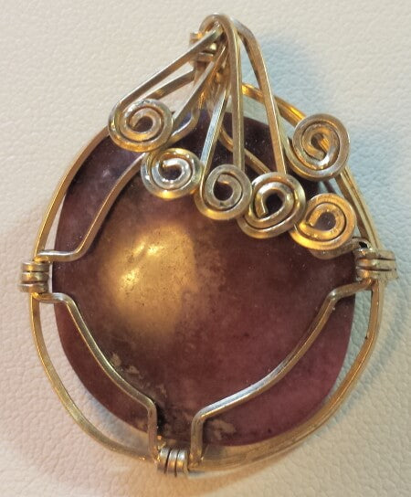 Red Agate Gold-Filled Wire Wrap Pendant