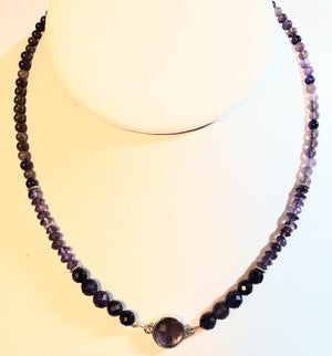 Amethyst Round Focal Bead Necklace