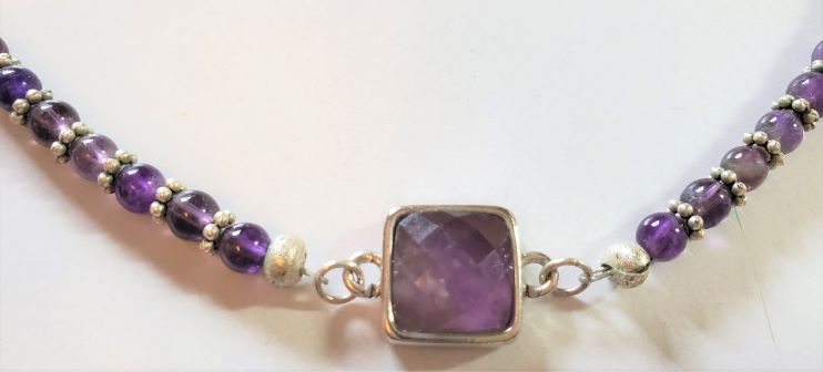 Amethyst Square Focal Bead Necklace