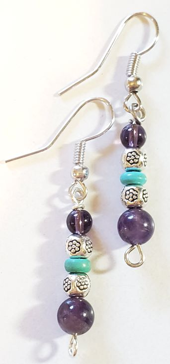 Amethyst Turquoise Earrings