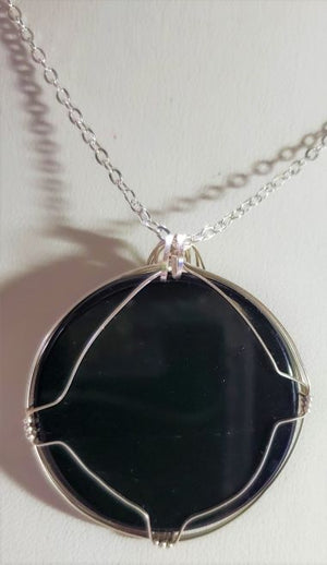 Black Onyx Wire Wrap Necklace
