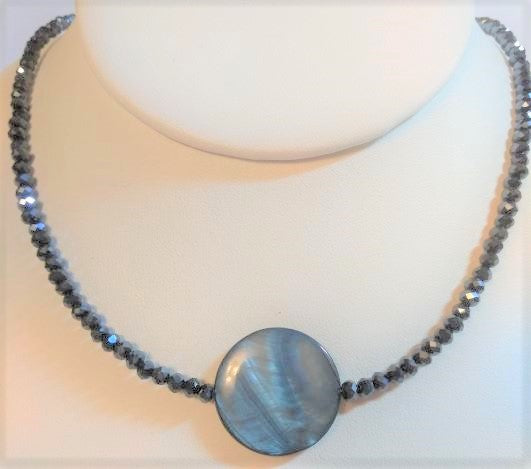 Black Rondelle Shell Focal Bead Necklace