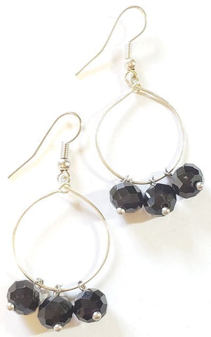 Black Rondelles Hoop Earrings