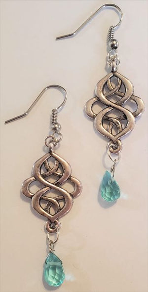 Blue Crystal Nouveau Earrings