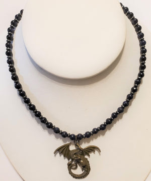 Blue Goldstone Hematite Dragon Necklace