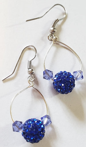 Blue Bicone Sparkle Hoop Earrings