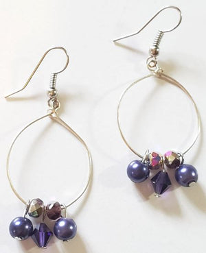 Blue Purple Bead Hoop Earrings