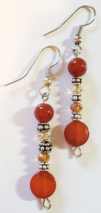Carnelian Bead Earrings