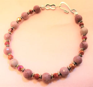 Faceted Rhodonite Red Rondelle Bracelet