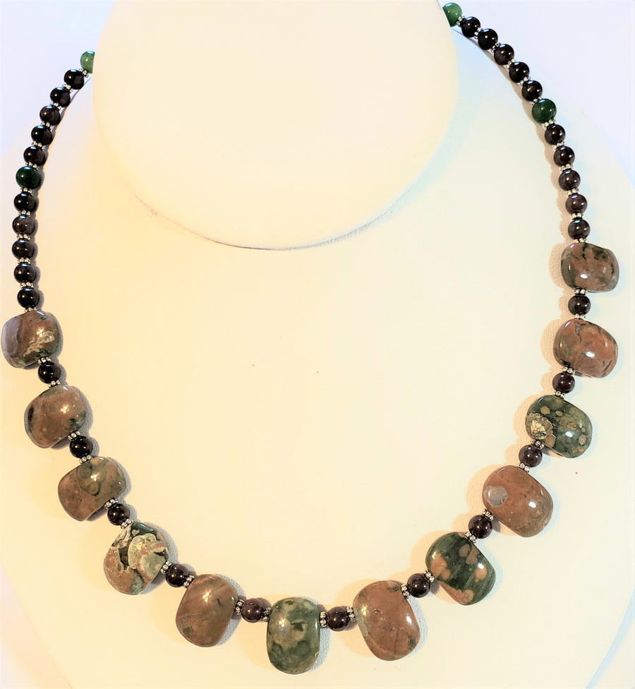 Garnet Unakite Fan Necklace