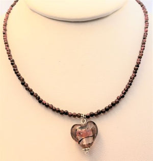 Garnet Glass Heart Necklace