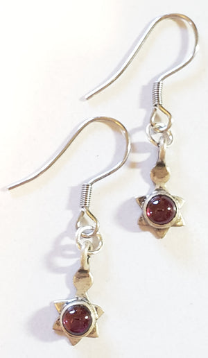 Garnet Sterling Silver Star Earrings