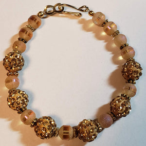 Gold Colored Sparkle Bead Bracelet