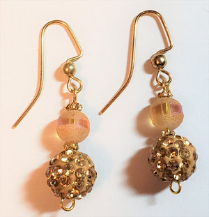 Gold Colored Sparkle Bead Earrings