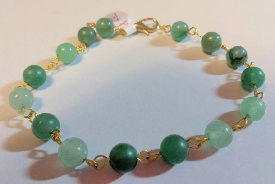 Green Aventurine Eye Pin Bracelet